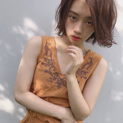 フェミニン ヘアアレンジ 簡単 ボブ ヘアスタイルや髪型の写真・画像