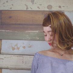 3Dハイライト バレイヤージュ カッパー ボブ ヘアスタイルや髪型の写真・画像
