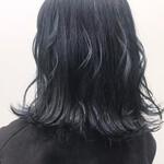 ブリーチオンカラー ミディアム 暗髪女子 ネイビー