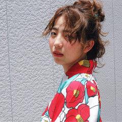 お祭り 夏 ヘアアレンジ ミルクベージュ ヘアスタイルや髪型の写真・画像
