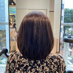美シルエット ボブ 絶壁カバー 艶髪 ヘアスタイルや髪型の写真・画像