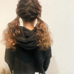 セミロング ツイン ヘアセット ツインテール ヘアスタイルや髪型の写真・画像