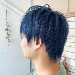 ショート メンズカラー メンズカット ネイビーブルー ヘアスタイルや髪型の写真・画像