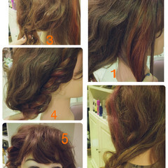 大人かわいい ヘアアレンジ 編み込み セミロング ヘアスタイルや髪型の写真・画像