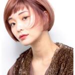 艶髪 ピンク 秋冬スタイル ボブ