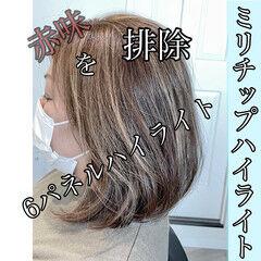 ナチュラル ハイライト 白髪染め 大人ハイライト ヘアスタイルや髪型の写真・画像