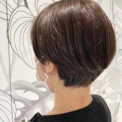 ショートボブ ショート グレージュ ナチュラル ヘアスタイルや髪型の写真・画像