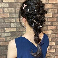 編みおろし ロング 編み込みヘア ナチュラル ヘアスタイルや髪型の写真・画像