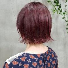 ピンク ピンクブラウン チェリーレッド ガーリー ヘアスタイルや髪型の写真・画像