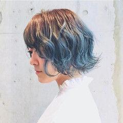 切りっぱなしボブ ボブ グラデーションカラー 外国人風カラー ヘアスタイルや髪型の写真・画像