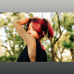 ハイトーンカラー フェミニン デザインカラー 黒髪 ヘアスタイルや髪型の写真・画像