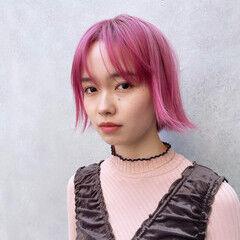 モード ボブ ピンク ハイトーンボブ ヘアスタイルや髪型の写真・画像