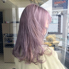 ラベンダーグレージュ ラベンダーアッシュ ラベンダーグレー ピンクラベンダー ヘアスタイルや髪型の写真・画像