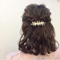 ボブ 結婚式 結婚式ヘアアレンジ ハーフアップ ヘアスタイルや髪型の写真・画像