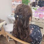 ハーフアップ フェミニン ゆるふわセット 巻き髪