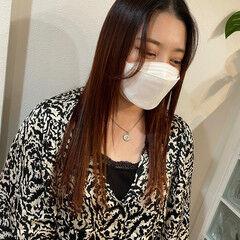 ヨシンモリ ロング 韓国ヘア オレンジカラー ヘアスタイルや髪型の写真・画像