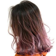 ピンク セミロング ハイライト 外国人風カラー ヘアスタイルや髪型の写真・画像