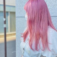 可愛い ピンクアッシュ ふんわり フェミニン ヘアスタイルや髪型の写真・画像