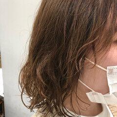 ボブ ブラウンベージュ デジタルパーマ ナチュラル ヘアスタイルや髪型の写真・画像