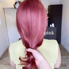 ラベンダーピンク ピンクベージュ ブリーチカラー ピンクカラー ヘアスタイルや髪型の写真・画像