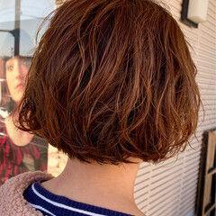 ママ パーマ パーマ ムース ヘアスタイルや髪型の写真・画像