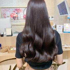 ベリーピンク 暗髪女子 ロング ブリーチなし ヘアスタイルや髪型の写真・画像