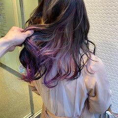 ミディアム ストリート インナーカラー ユニコーンカラー ヘアスタイルや髪型の写真・画像
