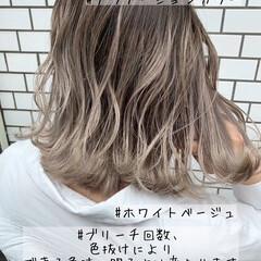 グラデーションカラー ホワイトカラー ミディアム バレイヤージュ ヘアスタイルや髪型の写真・画像