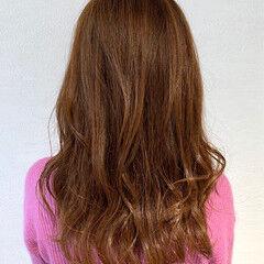 セミロング ガーリー ツヤ髪 オレンジベージュ ヘアスタイルや髪型の写真・画像