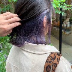 ラベンダーアッシュ ガーリー 切りっぱなしボブ ラベンダーカラー ヘアスタイルや髪型の写真・画像