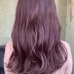 ピンク ガーリー ロング ラベンダーピンク ヘアスタイルや髪型の写真・画像