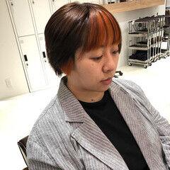インナーカラー ショート #インナーカラー インナーカラーレッド ヘアスタイルや髪型の写真・画像