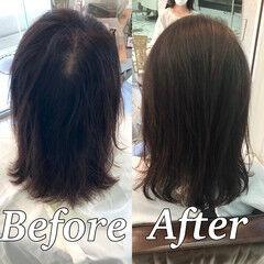 髪質改善 縮毛矯正 ナチュラル ミディアム ヘアスタイルや髪型の写真・画像