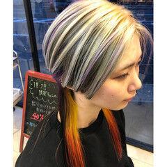 ロング グラデーションカラー ストリート ハイトーンカラー ヘアスタイルや髪型の写真・画像