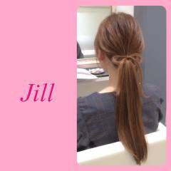 ローポニーテール ストレート ショート 簡単ヘアアレンジ ヘアスタイルや髪型の写真・画像