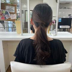 簡単ヘアアレンジ ナチュラル コテ巻き セルフヘアアレンジ ヘアスタイルや髪型の写真・画像