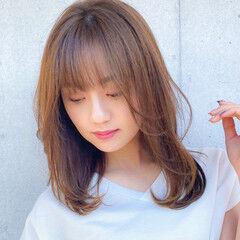 コンサバ 鎖骨ミディアム レイヤー デジタルパーマ ヘアスタイルや髪型の写真・画像