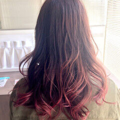 ピンク グラデーションカラー モード ブラウン ヘアスタイルや髪型の写真・画像