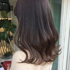 暗色カラー セミロング デート 大人可愛い ヘアスタイルや髪型の写真・画像