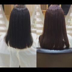 ヘアケア 髪質改善カラー 髪質改善 ミディアム ヘアスタイルや髪型の写真・画像