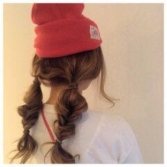 セミロング ヘアアレンジ ニット 時短 ヘアスタイルや髪型の写真・画像