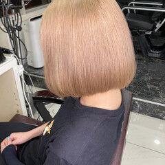 ダメージレス クリームブロンド 艶カラー ボブ ヘアスタイルや髪型の写真・画像