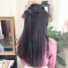 ナチュラル ヘアアレンジ セミロング ポンパドール ヘアスタイルや髪型の写真・画像
