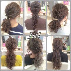 ロング ショート 波ウェーブ ローポニーテール ヘアスタイルや髪型の写真・画像