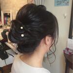 黒髪 フェミニン ロープ編み 結婚式