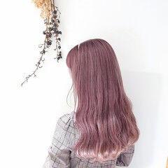 ガーリー ピンク ヘアカラー インナーカラー ヘアスタイルや髪型の写真・画像