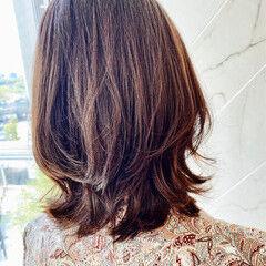 レイヤーボブ 春スタイル ミディアム ボブアレンジ ヘアスタイルや髪型の写真・画像