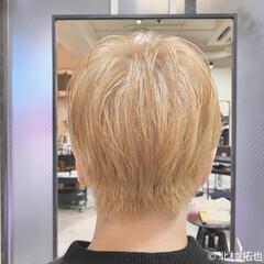 ブロンドカラー ショート ナチュラル ショートヘア ヘアスタイルや髪型の写真・画像