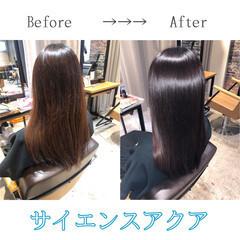 髪質改善 ロング 最新トリートメント サイエンスアクア ヘアスタイルや髪型の写真・画像