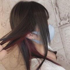 ストレート ガーリー イヤリングカラーピンク インナーカラー ヘアスタイルや髪型の写真・画像